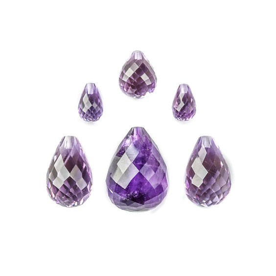 Top Drilled Faceted Amethyst Teardrop Briolette Bead
