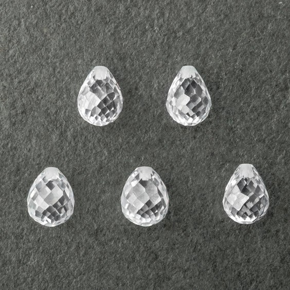 Top Drilled Faceted White Cubic Zirconia Teardrop Briolette Bead, Approx 10x8mm