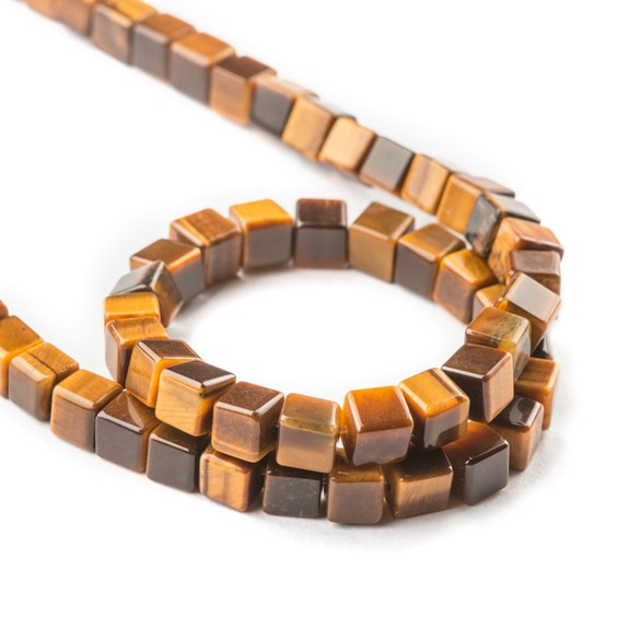 Tiger Eye Cube Beads, Approx 6mm