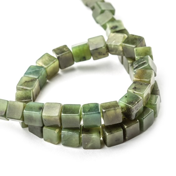 Nephrite Jade Cube Beads, Approx 6mm