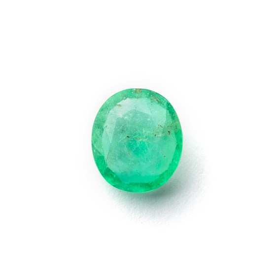 Emerald 12x11mm Oval Faceted Stone