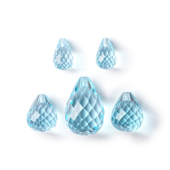 Top Drilled Faceted Sky Blue Topaz Teardrop Briolette Beads