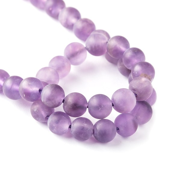 Frosted Amethyst Round Beads
