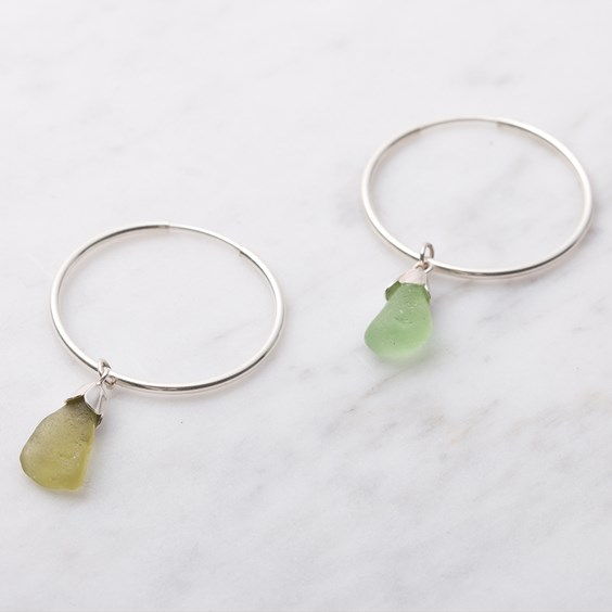Sea Glass Hoop Earrings