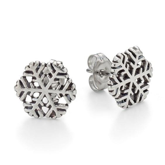 Sterling Silver Snowflake Earstuds, Per Pair