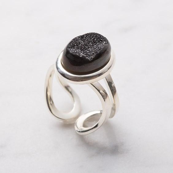 Shimmering Black Drusy Ring