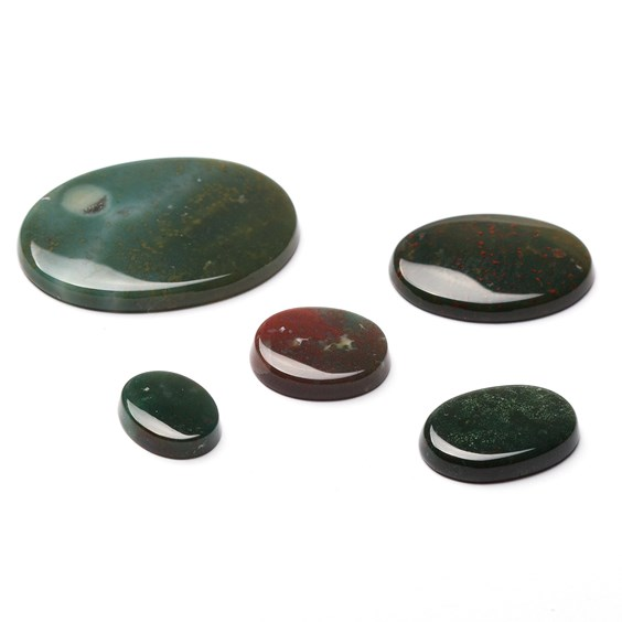 Bloodstone Flat Plate Oval Cabochons