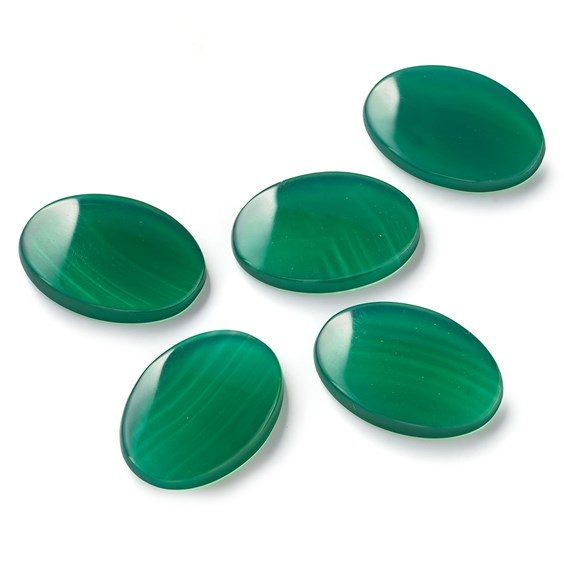 Green Agate Flat Plate Oval Cabochons, Approx 18x13mm