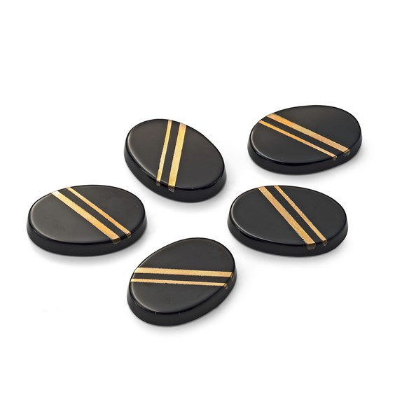9ct Gold Black Onyx Flat Plate Cabochons