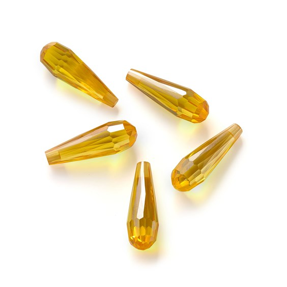 Top Drilled Faceted Citrine Coloured Cubic Zirconia Drop Shape Beads, Approx 22x7mm