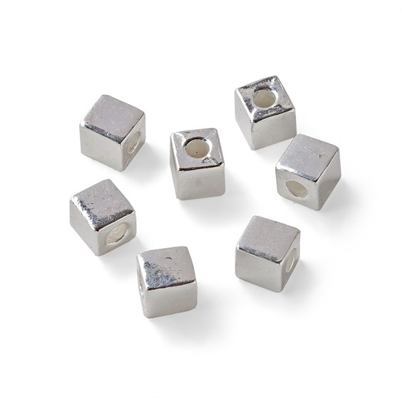 Sterling Silver 3.5mm Plain Cube Bead