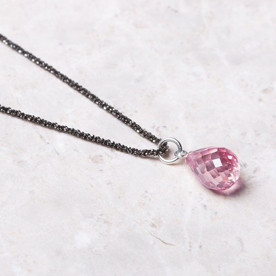 Sparkling Diamond & Rose Briolette Necklace