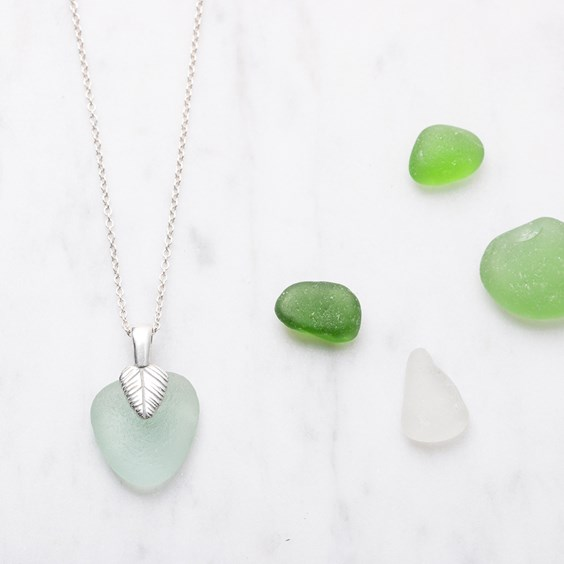 Sea Glass & Leaf Necklace