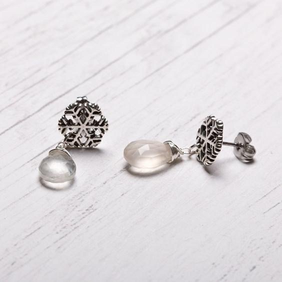 Snowflake & Moonstone Drop Earrings