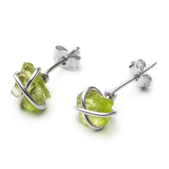 Rough Peridot Wire Wrap Stud Earrings