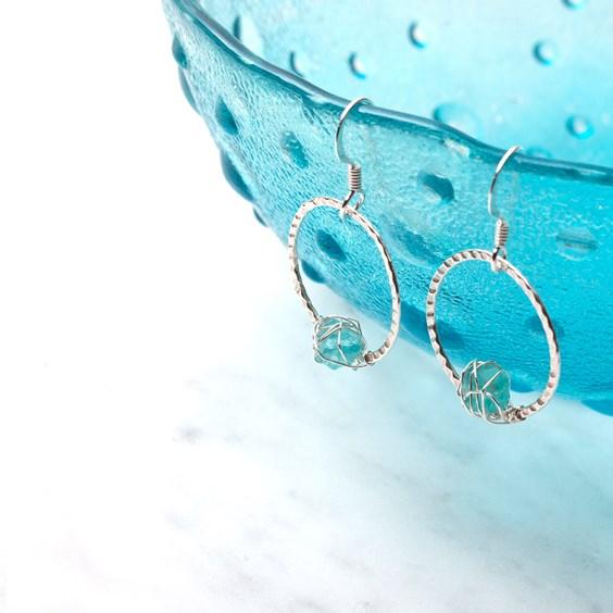 Textured Hoop and Crystal Earrings
