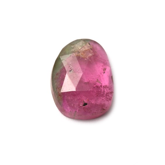 Watermelon Tourmaline Faceted Cabochon, Approx 12.5x9mm