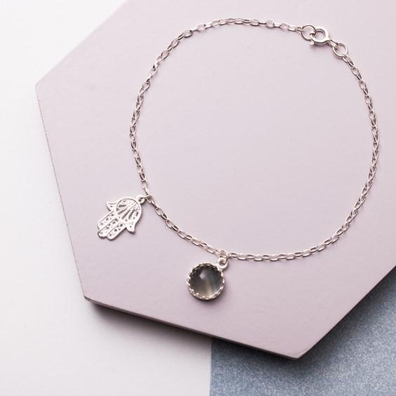 Hamsa Hand & Fluorite Protection Bracelet