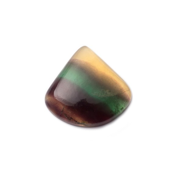 Multi-coloured Banded Fluorite Fan Shaped Cabochon, Approx 30x29mm
