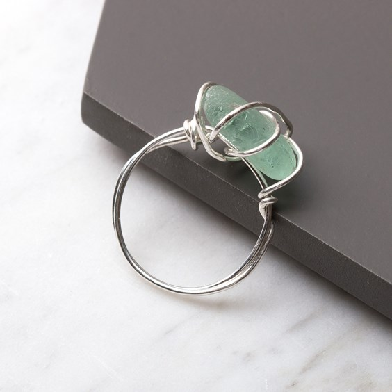 sea glass wire wrapped ring