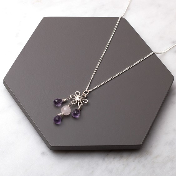 Amethyst Briolette Flower Necklace