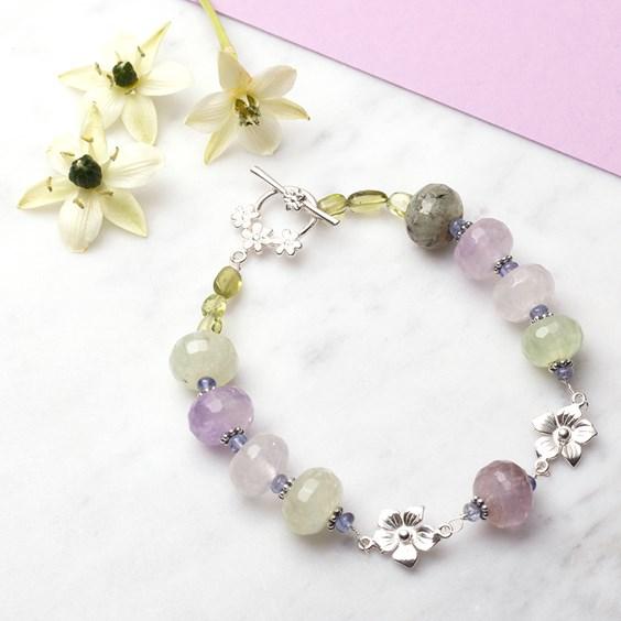 Quartz and Tanzanite Flower Bracelet