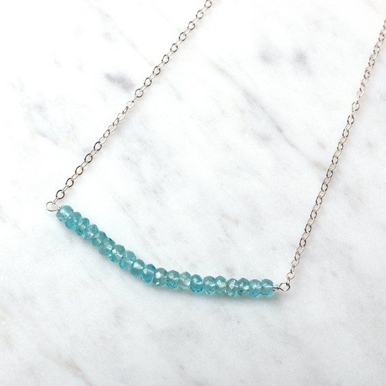 Apatite Bead Bar Necklace