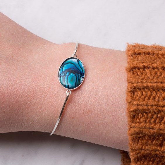Sterling Silver Paua Shell Bangle