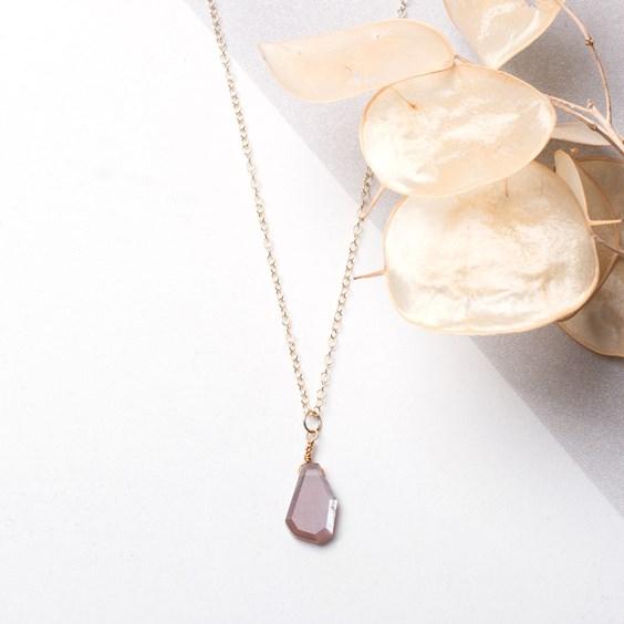Chocolate Moonstone Slice Necklace