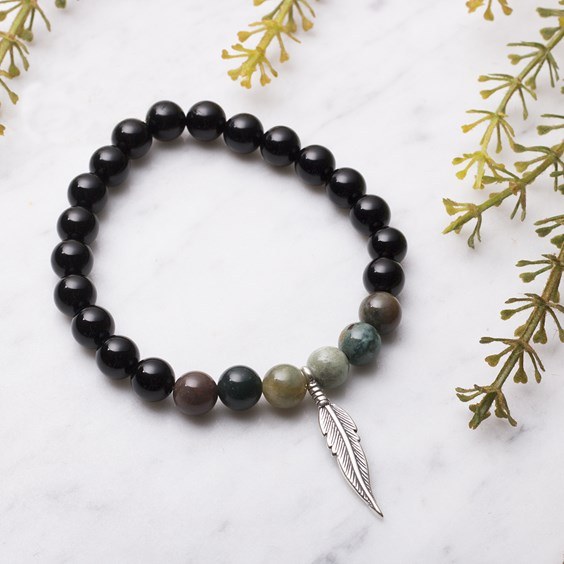 Onyx & Agate Feather Bracelet