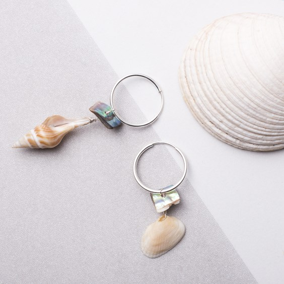 Sea Shell & Paua Shell Hoop Earrings