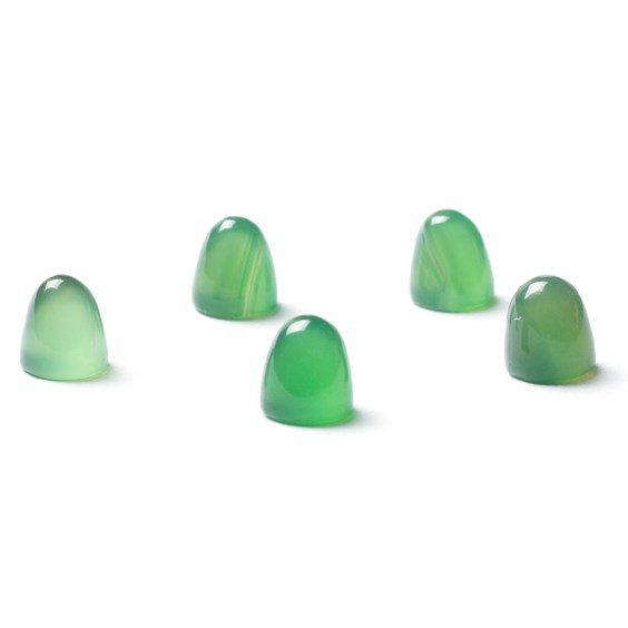 Green Agate Bullet Shaped Cabochons, Approx 5mm