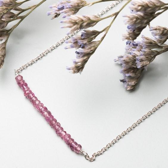 Pink Tourmaline Bead Bar Necklace