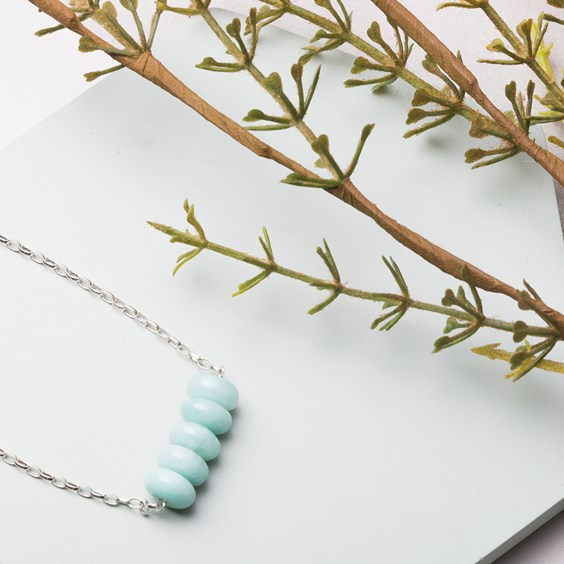 Amazonite Bead Bar Necklace