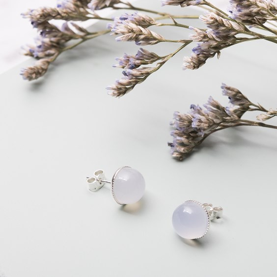 Natural Blue Chalcedony Earstuds