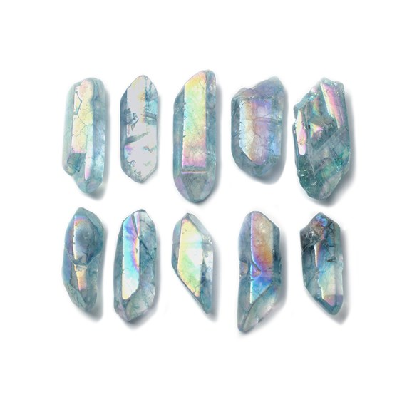 Metallic Blue Quartz Points, Approx 10x6mm To 50x25mm, Packs Of 10 Beads