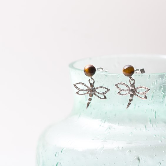 Tiger's Eye & Dragonfly Earrings