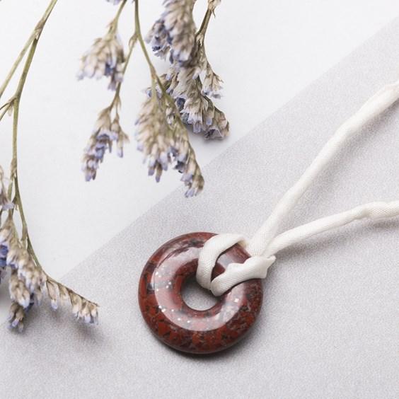 Brecciated Jasper & Silk Necklace