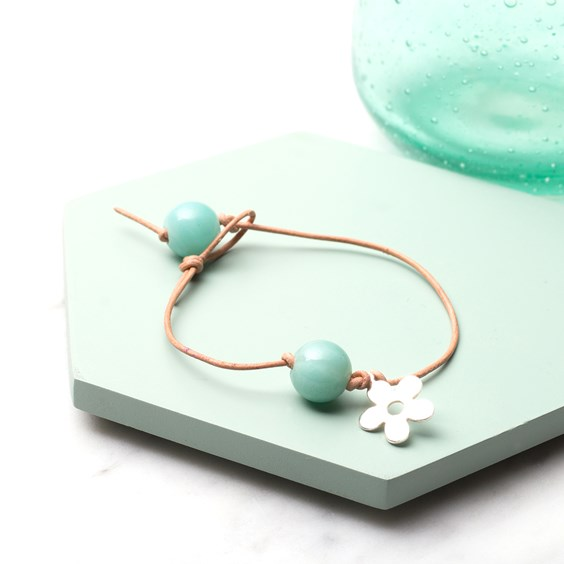 Kids Amazonite and Flower Charm Bracelet