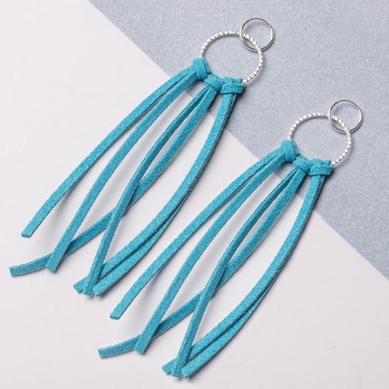 Turquoise Flat Suede Tassel Earrings