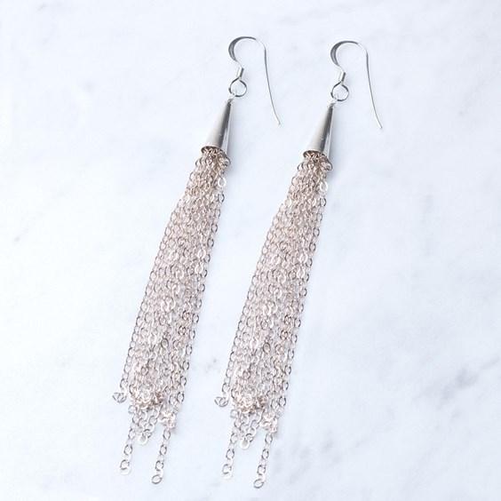 Silver Tassel Chain Earrings