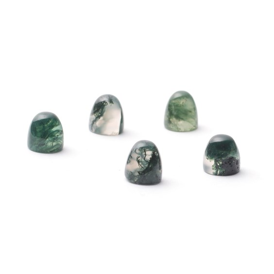 Green Moss Agate Bullet Shaped Cabochons, Approx 5mm