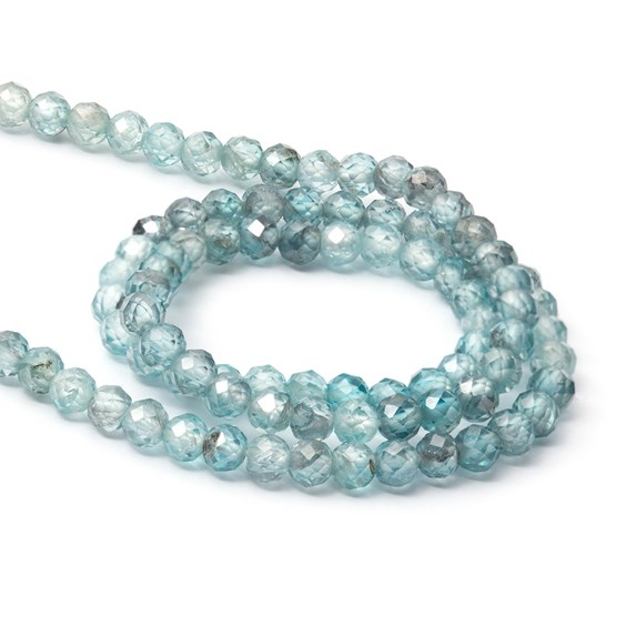 Blue Zircon Ombre Faceted Round Beads, Approx 3.5mm