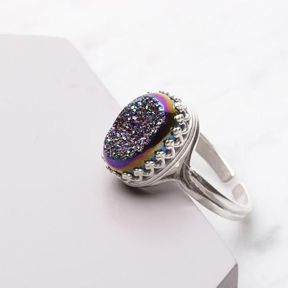 Rainbow Titanium Drusy Ring