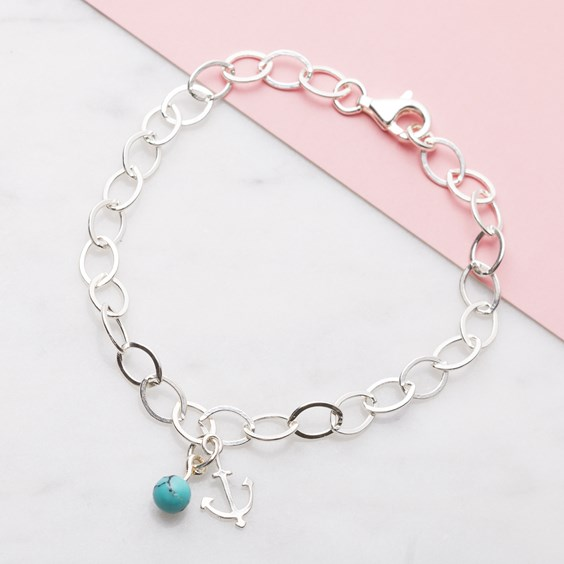 Anchor & Turquoise Chunky Chain Bracelet