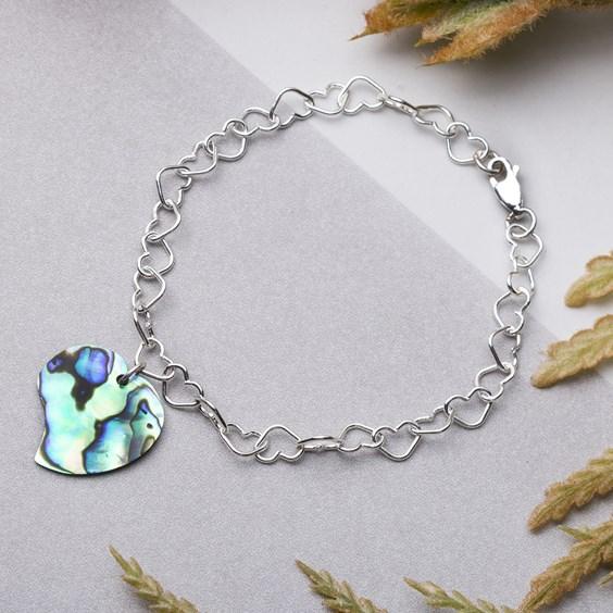 Paua Shell & Heart Chunky Chain Bracelet