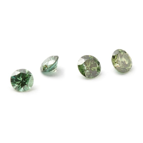 Green Faceted Diamond Stone, Approx 2.4-2.5mm Round
