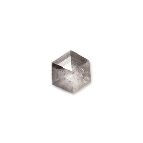Charcoal Grey Diamond Rose Cut Cabochon, Approx 3.6mm Hexagon