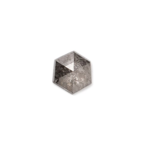 Charcoal Grey Diamond Rose Cut Cabochon, Approx 3.7mm Hexagon