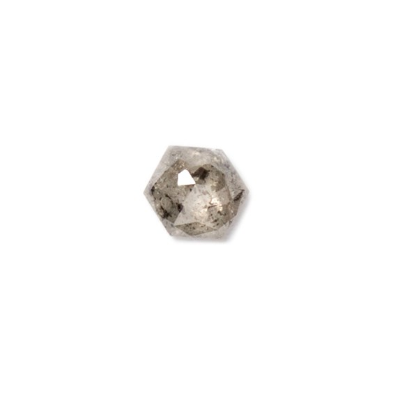 Charcoal Grey Diamond Rose Cut Cabochon, Approx 2.85mm Hexagon